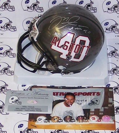 Mike Alstott Autographed Alstott Logo Tampa Bay Buccaneers Mini Football Helmet