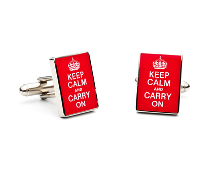 Keep Calm and Carry On Cuff Links - 1 Pair