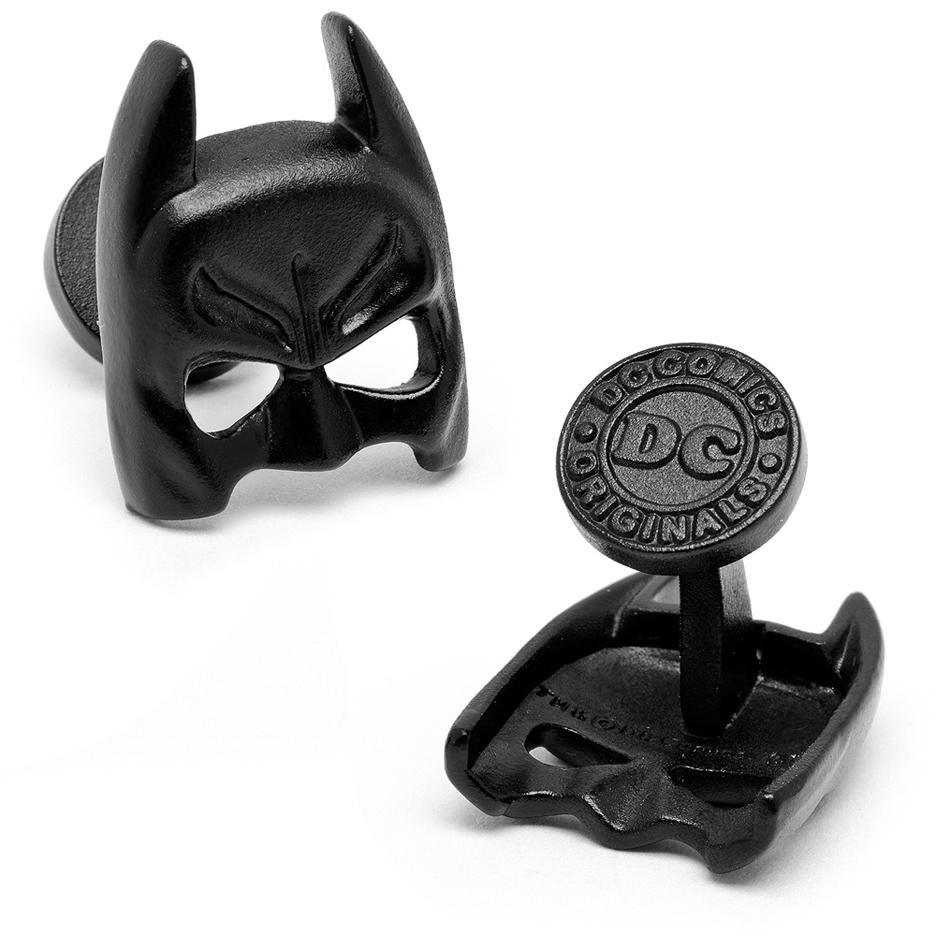 3-D Classic Batman Mask Satin Black Cuff Links - 1 Pair