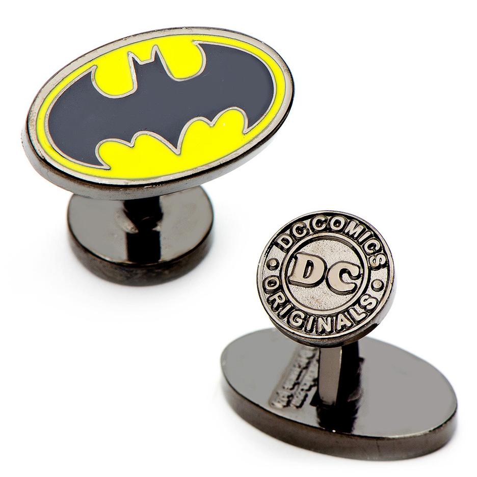 Enamel Oval Batman Logo Cuff Links - 1 Pair
