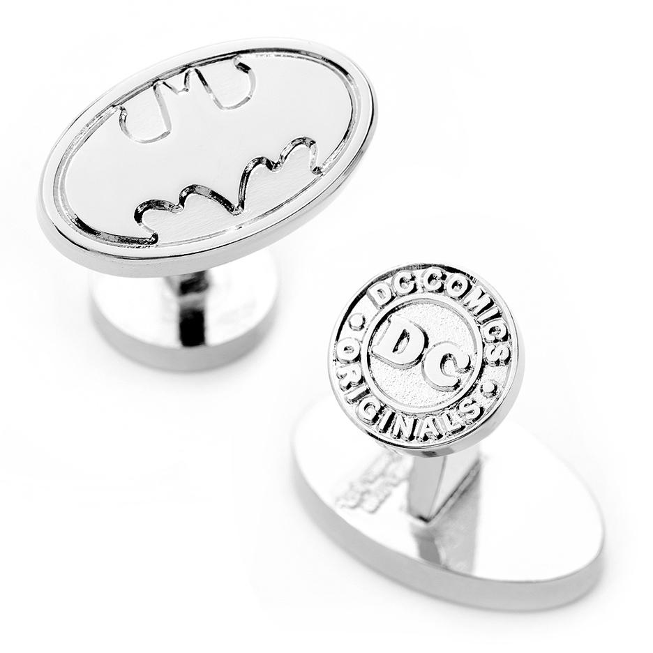 Silver Oval Batman Logo Cuff Links - 1 Pair