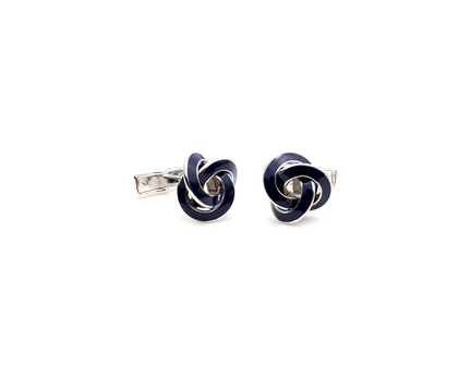 Blue Enamel Knot Cuff Links - 1 Pair