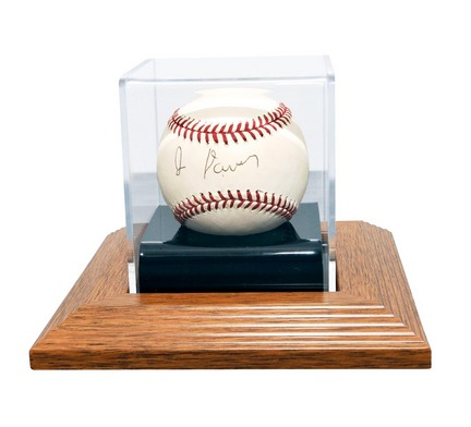 Single Ball Natural Wood Base Display Case CW-BAS-201-W