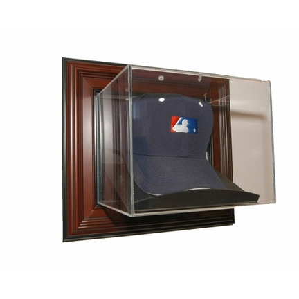 Case-Up Baseball Cap Display Case with Mahogany Frame