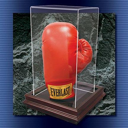 """The """"Boardroom"""" Collection Mahogany Single Stand Up Boxing Glove Display Case"""
