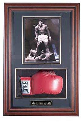 "Boxing Glove and 8"" x 10"" Photograph Display Case with Black Frame"