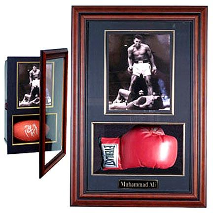 """Boxing Glove and 8"""" x 10"""" Photograph Display Case with Mahogany Frame"""