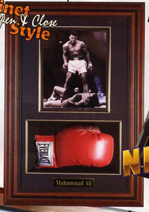 "Boxing Glove and 8"" x 10"" Photograph Display Case with Wood Frame"