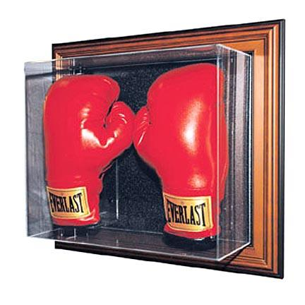 """The """"Case-Up"""" Collection Double Boxing Glove Display Case (Wood Finish)"""