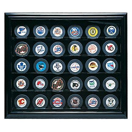 Cabinet Style 30 Puck Ice Hockey Display Case (Mahogany)