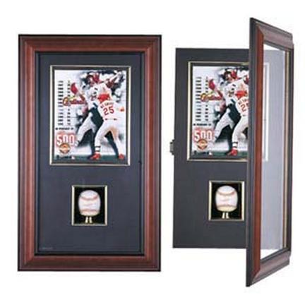 """Coach's Choice Single Baseball and 8"""" x 10"""" Photograph Shadow Box (Mahogany)"""