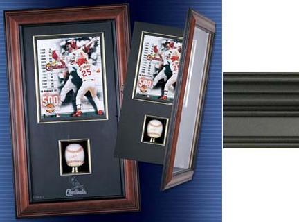 "Black Finish Single Baseball and 8"" x 10"" Vertical Photograph Cabinet Shadow Box"
