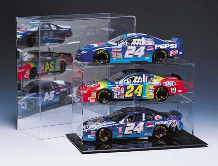Three Car Mirrored Back Display Case for 124 Scale Car