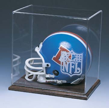 Mini Football Helmet Display Case with Wood Finished Base