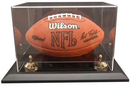 Zenith Football Display Case with Gold Risers, Black Acrylic and Black Wood Base