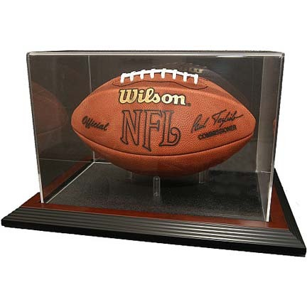 Zenith Football Display Case with Mahogany Wood Base