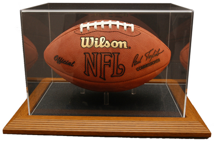 Ultimate Collectors Football Display Case with Genuine Wood Base