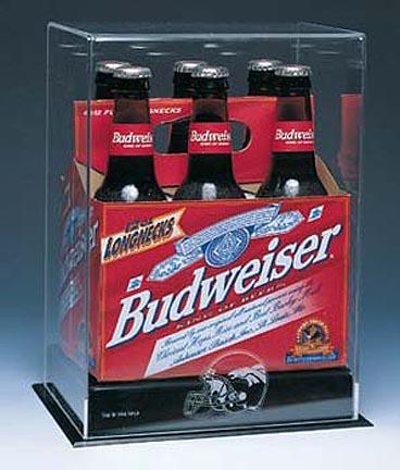 Collectors Six Pack Long Neck Bottle NFL Display Case with Engraved NFL Team Logo