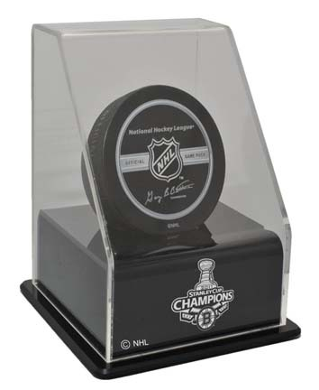 Boston Bruins 2011 Stanley Cup Champions Single Hockey Puck Display Case with Angled Base (UV Protected) CW-NHL-301-A-ST11BOS-UV
