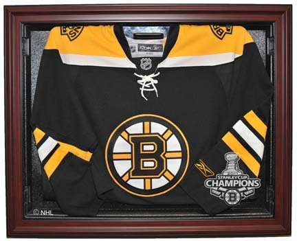 Boston Bruins 2011 Stanley Cup Champions Removable Face Jersey Display Case (Mahogany)