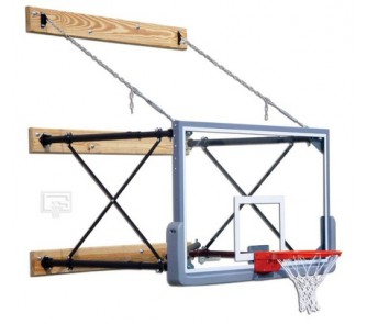 "Buy Fold-Up Wall Mount Basketball System with 42"" x 72"" Glass Backboard and 4-6'... now!"