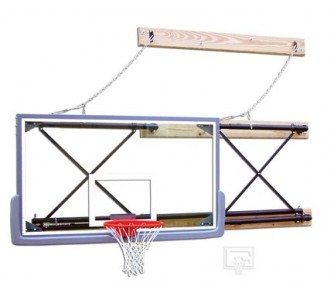 """Buy Side-Fold Wall Mount Basketball System with 42"""" x 72"""" Glass Backboard and 9-12'... now!"""