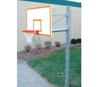 """Buy 6 5/8"""" O.D. Front Mount Adjustable Straight Post Basketball System with 42"""" x... now!"""