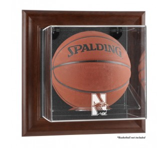Buy Northwestern Wildcats Brown Framed Wall Mountable Logo Basketball Display Case now!