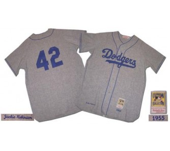 0f2352085 Jackie Robinson 1955 Brooklyn Dodgers  42 Authentic Road Throwback ...