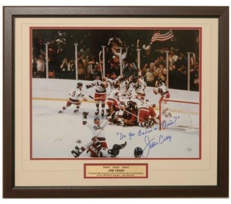 """Buy Jim Craig Autographed Framed 16"""" x 20"""" Photograph with """"Do You Believe in... now!"""