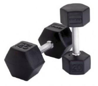 Buy 12 lb. TKO Rubber Encased Hex Dumbbell (Black) now!