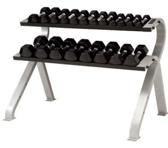 Buy 2-Tier Horizontal Dumbbell Rack (Silver Metallic) from TKO Sports now!