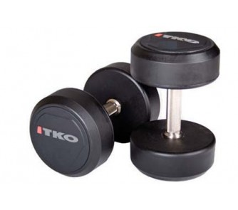 Buy 70 lb. Solid Steel Urethane Coated Dumbbells with Tri-Grip Handle - 1 Pair now!