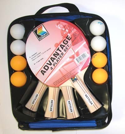 Kettler tennis table 4 player advantage set paddles for 100 table tennis balls
