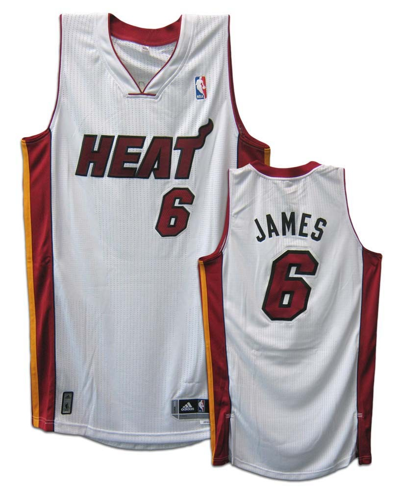 6ff7e2b0f8d0 LeBron James Miami Heat  6 Revolution 30 Authentic Adidas NBA Basketball  Jersey (Home White). CLICK IMAGE TO ZOOM