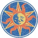 Large 4 Foot Pool Art - Mosaic Sun Nature Design