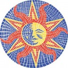 Mini 7 Inch Round Pool Art - Mosaic Sun Nature Design (Set of Four Emblems)