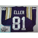 Carl Eller, Minnesota Vikings NFL Authentic Autographed Purple Throwback Jersey by