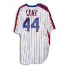 David Cone Autographed New York Mets White Pinstripe Majestic Throwback Jersey