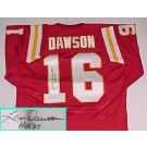 "Len Dawson Autographed Kansas City Chiefs Throwback Red Jersey with ""HOF 87"" Inscription"