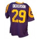 "Eric Dickerson Autographed Los Angeles Rams Throwback Blue Jersey with ""HOF 99"" Inscription"