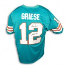 """Bob Griese Autographed Custom Throwback Football Jersey Inscribed with """"HOF 90"""" (Teal)"""