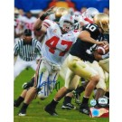 """AJ Hawk Autographed """"Going for the Sack vs Notre Dame"""" Ohio State Buckeyes 8"""" x 10"""" Photo"""