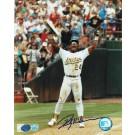 "Rickey Henderson Oakland Athletics Autographed ""Celebrating"" 8"" x 10"" Unframed Photograph"