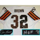 Jim Brown, Cleveland Browns NFL Authentic Autographed White Throwback Jersey with... by