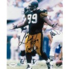 """Levon Kirkland Pittsburgh Steelers Autographed 8"""" x 10"""" Photograph Inscribed with """"#99"""" and """"Capt Kirk"""" (Unframed)"""