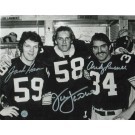 """Jack Lambert Autographed, Jack Ham & Andy Russell Triple Signed Pittsburgh Steelers 8"""" x 10"""" Photo"""