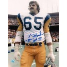 "Tom Mack Autographed ""On the Field"" Los Angeles Rams 8"" x 10"" Photo Inscribed ""HOF 99"""