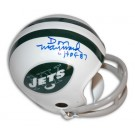 "Don Maynard Autographed New York Jets Throwback Two-Bar Mini Football Helmet Inscribed with ""HOF 87"""