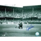 """Johnny Podres Autographed """"View from Behind the Plate"""" Brooklyn Dodgers 8"""" x 10"""" Photo"""